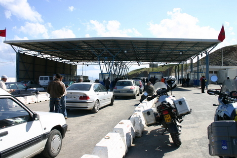 Trip report: Morocco 2007. Border control in Ceuta - Motomorgana, nomads riding around the world on a motorbike adventure.