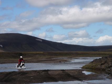 Trip report: Iceland 2011. Near Landmannalaugar - Motomorgana, nomads riding around the world on a motorbike adventure.